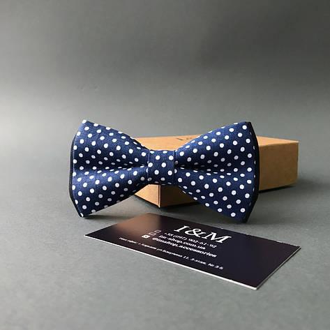 Краватка-метелик I&M Craft синя в білий горох (010521), фото 2