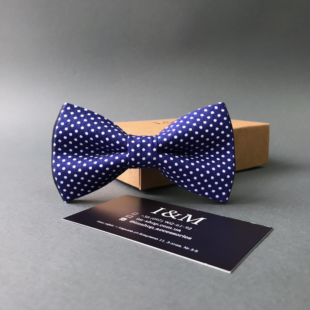 Галстук-бабочка I&M Craft синяя в мелкий белый горох (010522)