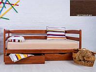 Детская односпальная кровать Ева с ящиками 70х140, цвет темный орех