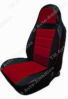 Чехлы на сиденья Тойота Авенсис (Toyota Avensis) (универсальные, кожзам, пилот) черно-красный