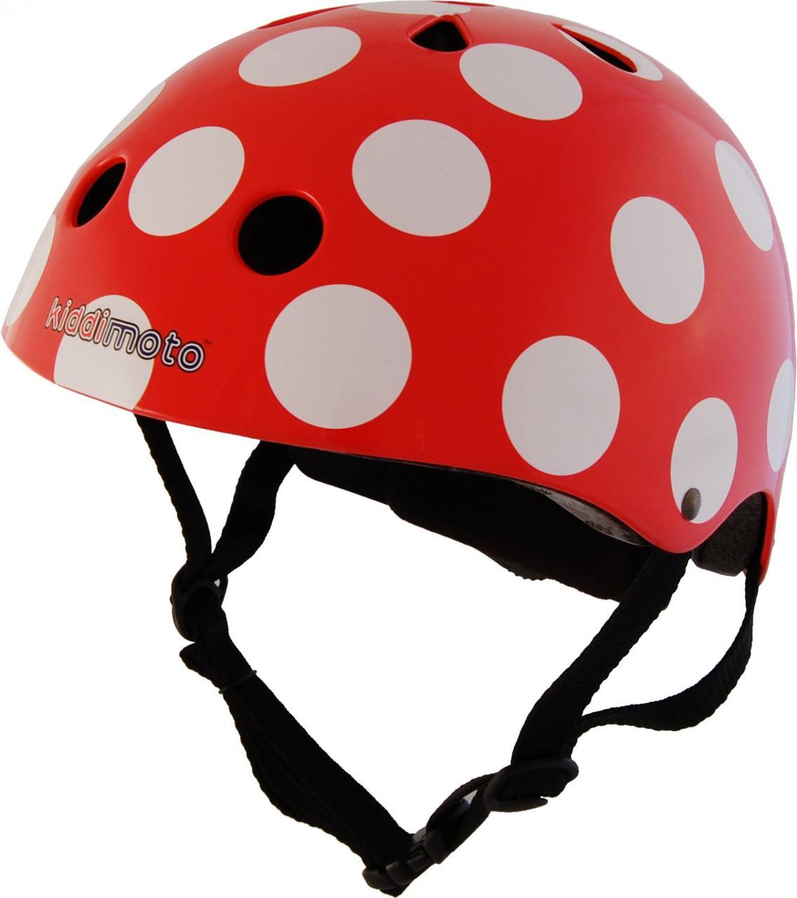 Шлем детский Kiddi Moto красный в белый горошек, размер M 53-58см