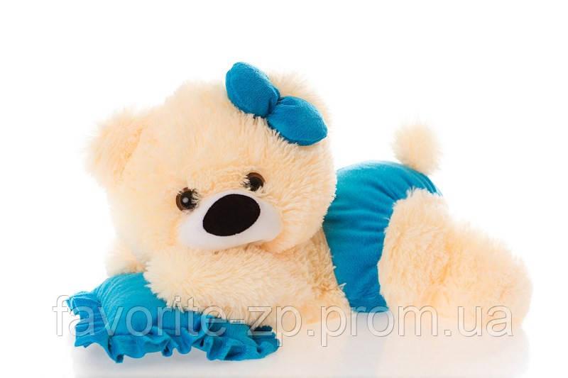 Алина Плюшевая мишка малышка 45 см персиковая с голубым