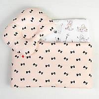 Комплект в коляску летний BabySoon Бантики на пудре одеяло 65 х 75 см подушка 22 х 26 см (084)