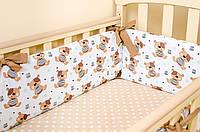 Бортики в детскую кроватку + простынь на резинке BabySoon Мишки Тедди 360см х 27см простынь 60см х 120см (528)