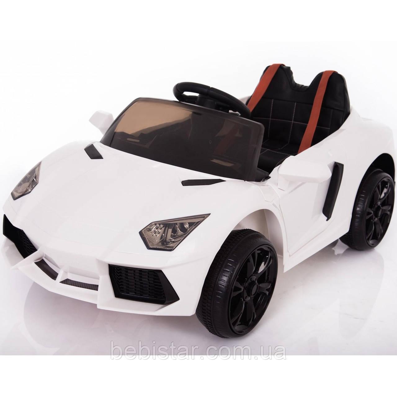 Электромобиль спорткар белый Т-753 WHITE для деток 3-8 лет с пультом мотор 2*15W, аккумулятор 2*6V4.5AH с MP3