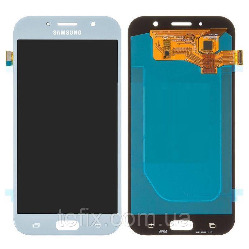 Дисплей для Samsung A720 Galaxy A7 (2017), модуль в сборе (экран и сенсор), голубой, OLED