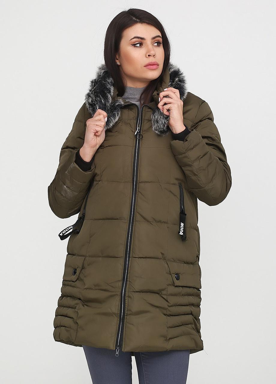 Куртка зимняя женская зеленая, пуховик с мехом СС-8510-40