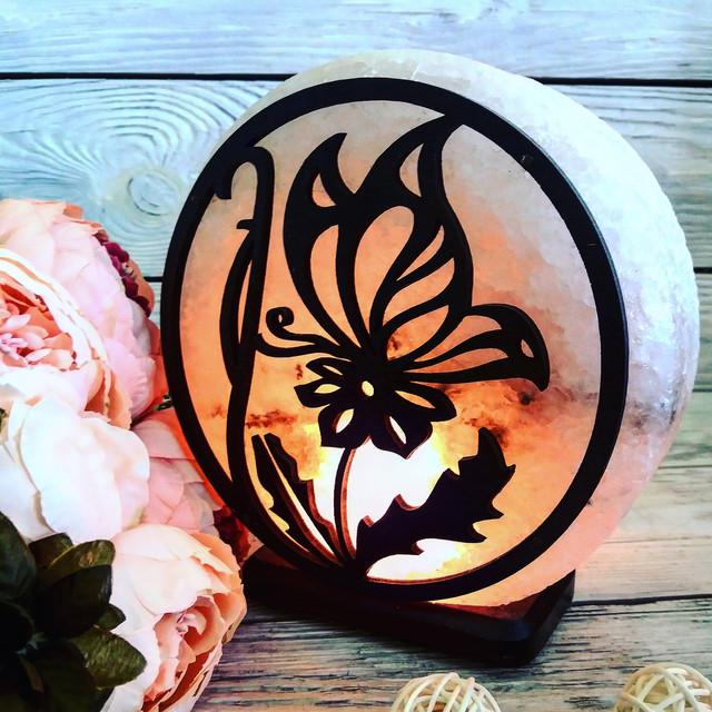 Соляная лампа «Бабочка на цветке» 3-4 кг.