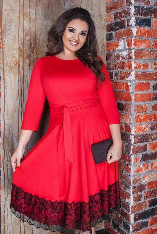 Батальное красное платье с пышной юбкой Азалия