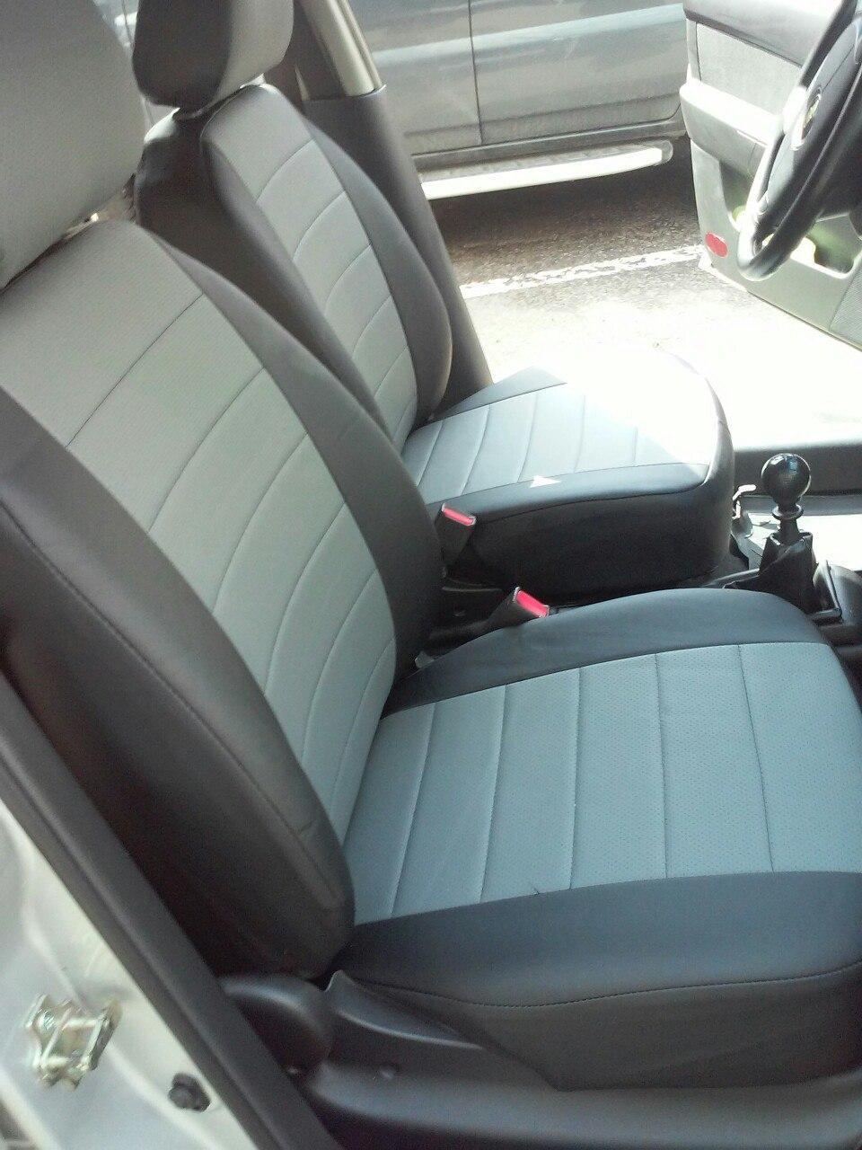 Чехлы на сиденья Шевроле Авео Т250 (Chevrolet Aveo T250) (универсальные, кожзам, с отдельным подголовником)