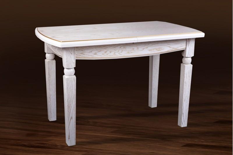 Стол Микс Мебель Кайман Белый с патиной кухонный обеденный прямоугольный раскладной
