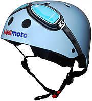 Шлем детский Kiddi Moto с очками размер S 48-53см, голубой