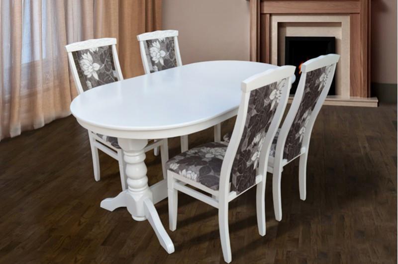 Стол Микс Мебель Говерла 1,6 Белый кухонный обеденный овальный раскладной