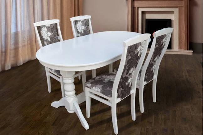 Стол Микс Мебель Говерла 1,6 Белый кухонный обеденный овальный раскладной , фото 2