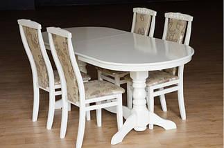 Стол Микс Мебель Говерла 1,6 Белый кухонный обеденный овальный раскладной , фото 3
