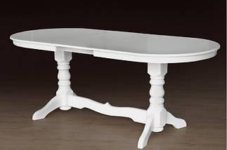Стол Микс Мебель Говерла 1,2 Слоновая кость кухонный обеденный овальный раскладной , фото 3