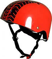 Шлем детский Kiddi Moto с рисунком протектора, красный, размер S 48-53см
