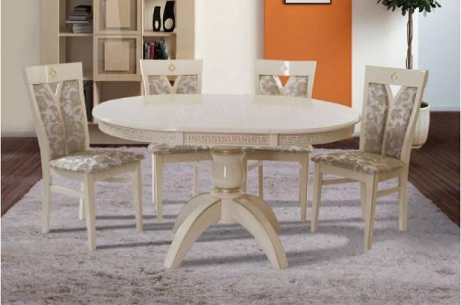 Стол Микс Мебель Престиж Слоновая кость + патина золото кухонный обеденный круглый раскладной, фото 2