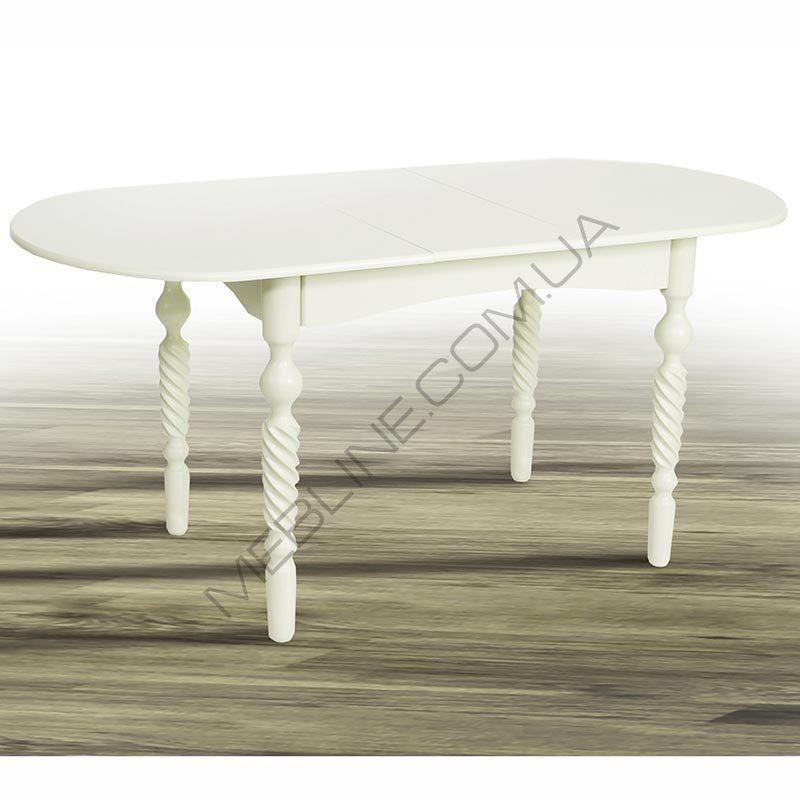Стол Микс Мебель Бруно Белый кухонный обеденный овальный раскладной