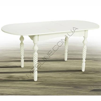 Стол Микс Мебель Бруно Белый кухонный обеденный овальный раскладной, фото 2