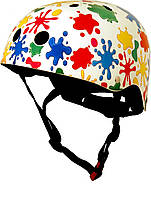 Шлем детский Kiddi Moto цветные кляксы, белый, размер M 53-58см