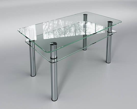 Стол Sentenzo Кристалл с полкой кухонный обеденный прямоугольный стеклянный нераскладной, фото 2