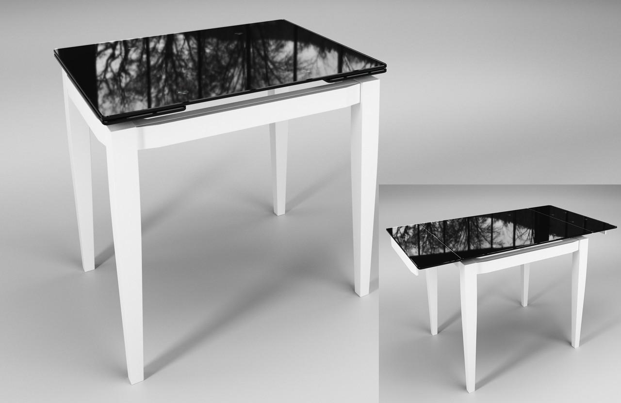 Стол Sentenzo Тореро кухонный обеденный прямоугольный стеклянный на деревянных ножках раскладной