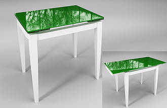 Стол Sentenzo Тореро кухонный обеденный прямоугольный стеклянный на деревянных ножках раскладной, фото 2