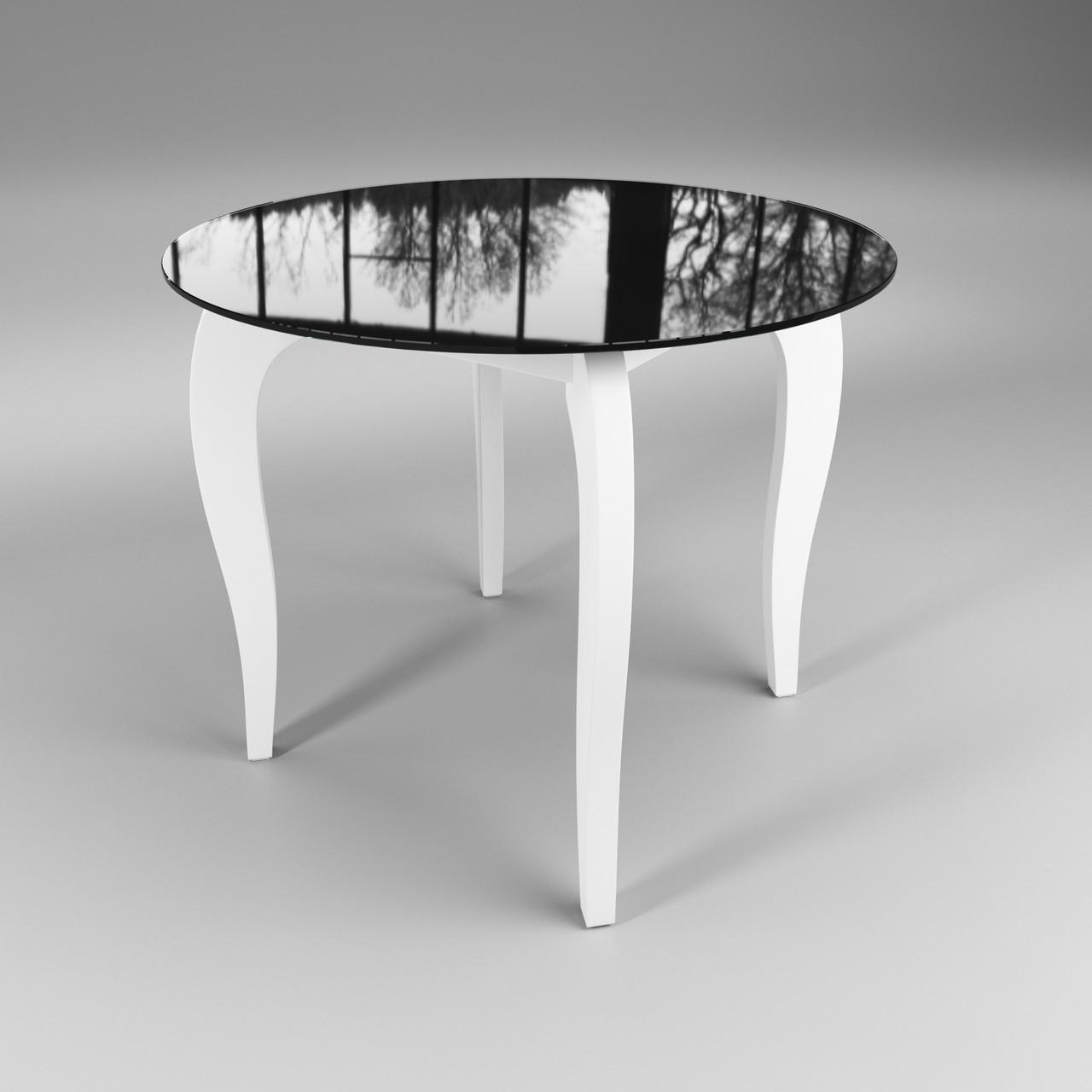 Стол Sentenzo Император Круг Контраст кухонный обеденный круглый стеклянный на деревянных ножках нераскладной