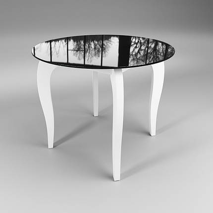 Стол Sentenzo Император Круг Контраст кухонный обеденный круглый стеклянный на деревянных ножках нераскладной, фото 2