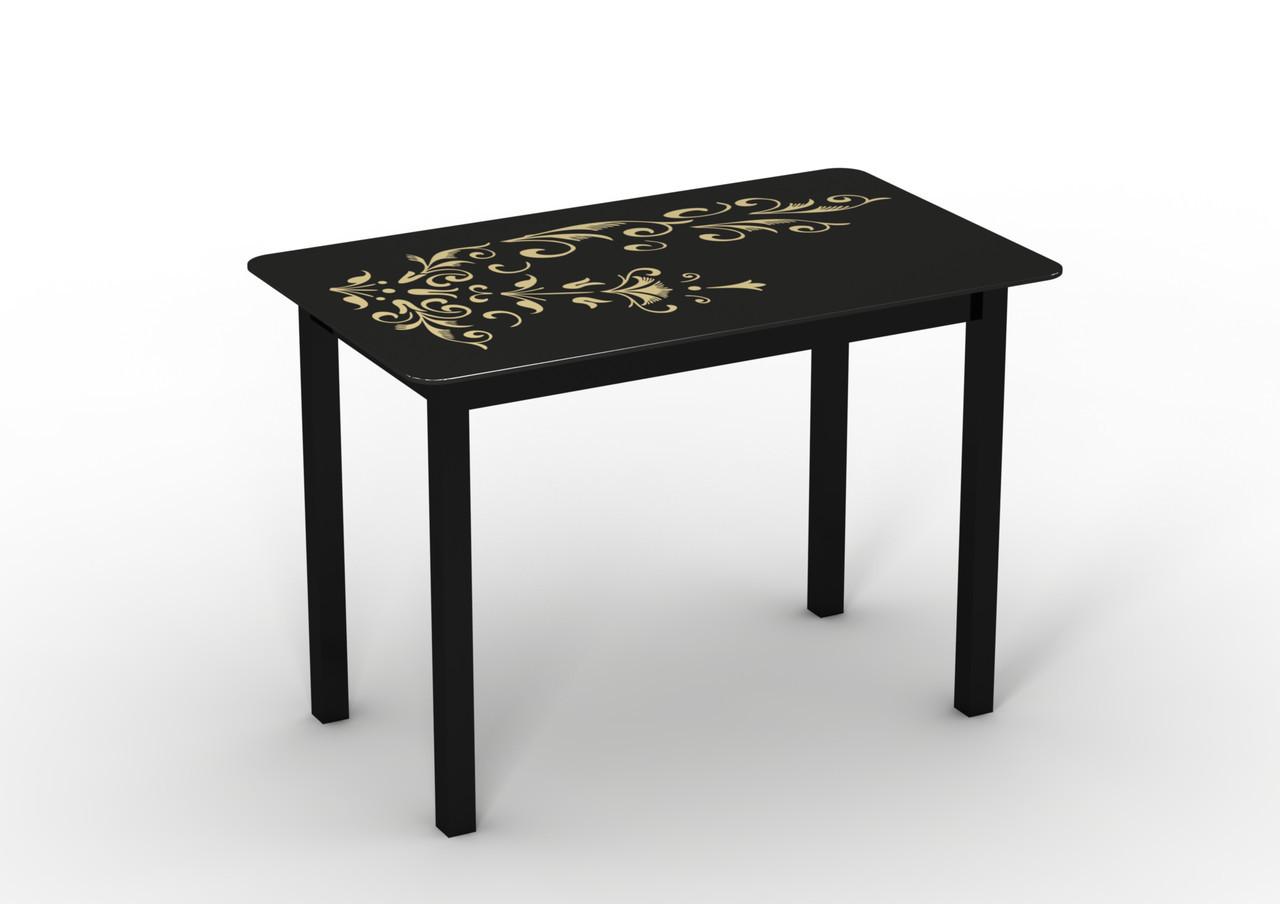 Стол Sentenzo Монарх Черный зефир кухонный обеденный прямоугольный стеклянный на ножках нераскладной