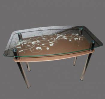 Стол Sentenzo Шоколад кухонный обеденный прямоугольный стеклянный нераскладной, фото 2