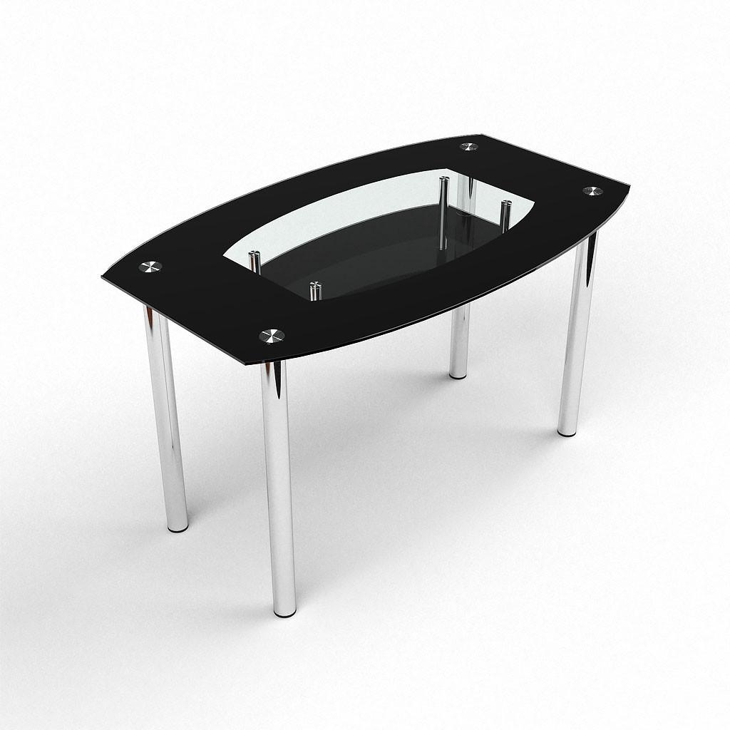 Стол БЦ Twist Black кухонный обеденный овальный стеклянный нераскладной