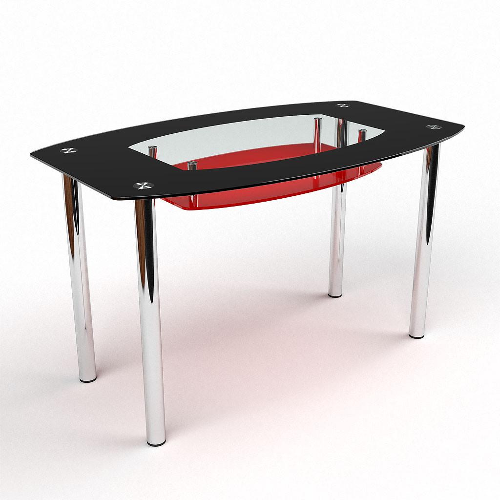 Стол БЦ Бочка красно-черный кухонный обеденный овальный стеклянный нераскладной