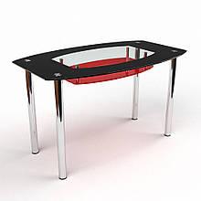 Стол БЦ Бочка красно-черный кухонный обеденный овальный стеклянный нераскладной 1100х650