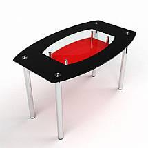 Стол БЦ Бочка красно-черный кухонный обеденный овальный стеклянный нераскладной, фото 2