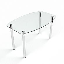 Стол БЦ Бочка прозрачный кухонный обеденный овальный стеклянный нераскладной 1100х650