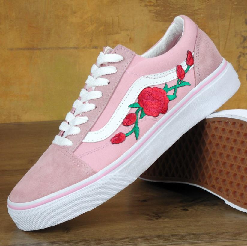 Vans Old Skool pink white rose   (в стиле Vans)