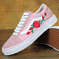 Vans Old Skool pink white rose   (в стиле Vans)