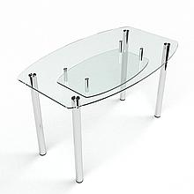 Стол БЦ Бочка прозрачный с полкой кухонный обеденный овальный стеклянный нераскладной 1100х650
