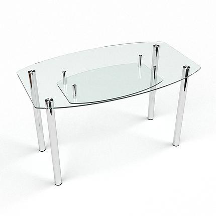 Стол БЦ Бочка прозрачный с полкой кухонный обеденный овальный стеклянный нераскладной, фото 2