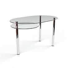 Стол БЦ Диалог кухонный обеденный овальный стеклянный нераскладной 1200х750