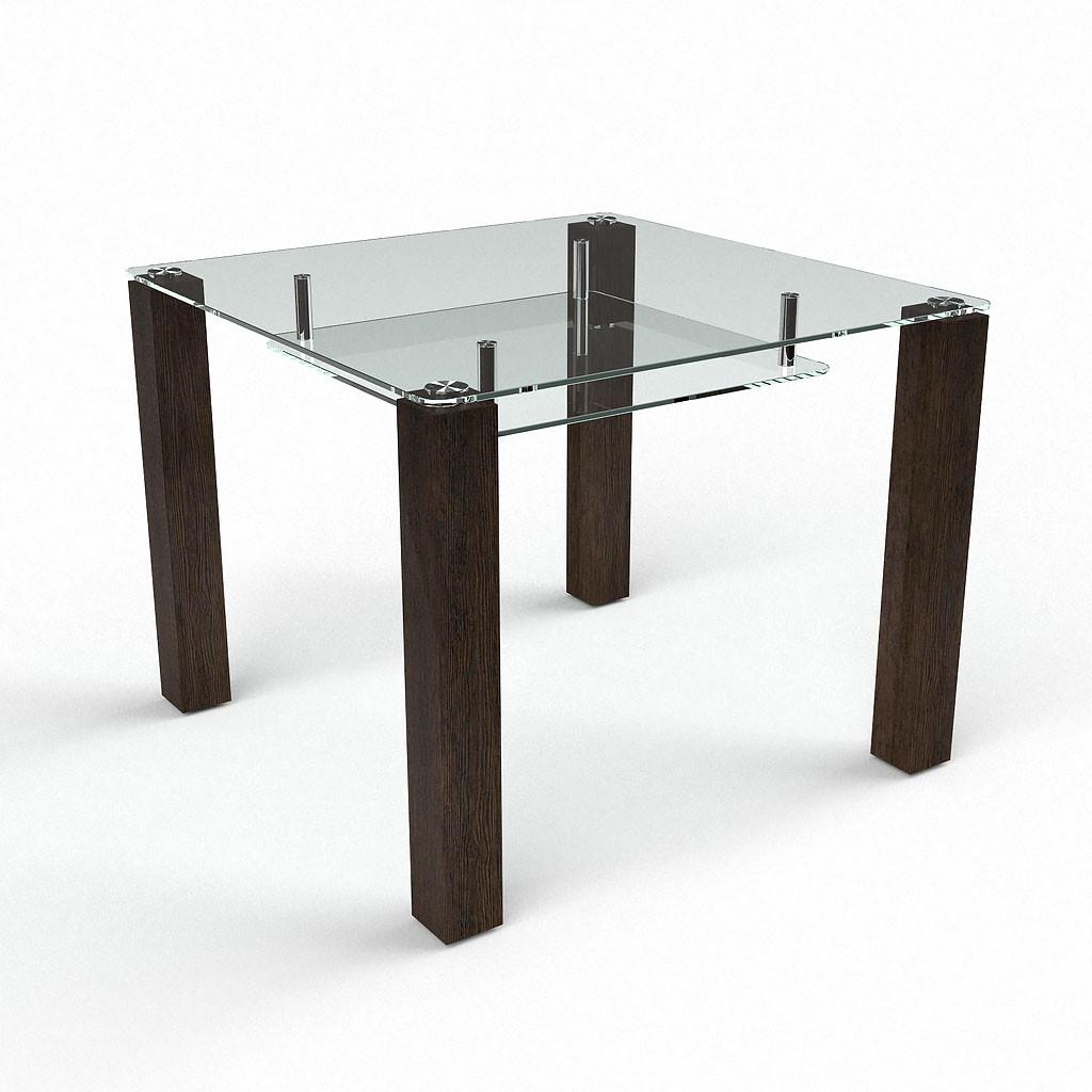 Стол БЦ Квадратный прозрачный с полкой кухонный обеденный квадратный стеклянный нераскладной