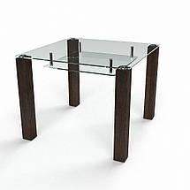Стол БЦ Квадратный прозрачный с полкой кухонный обеденный квадратный стеклянный нераскладной, фото 2