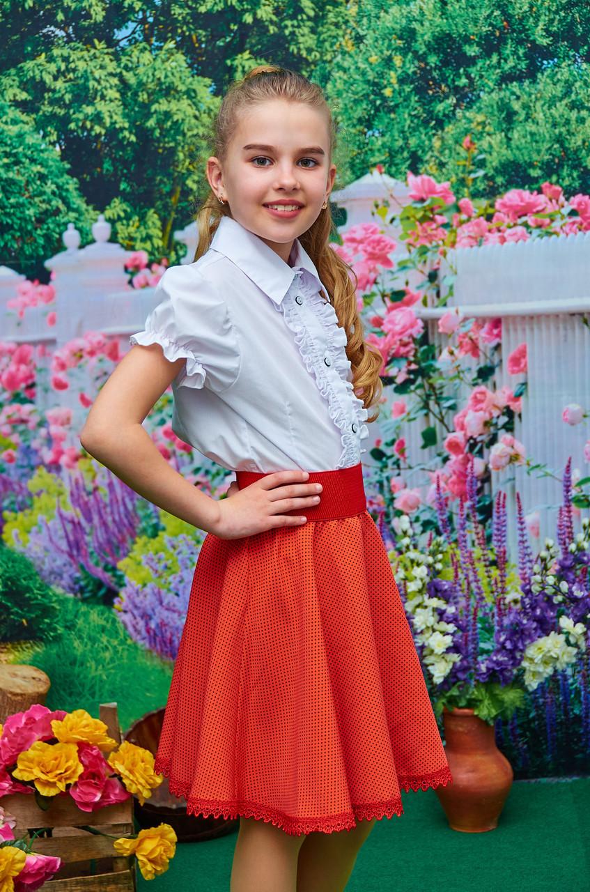 Подростковая юбка в мелкий горох оранжевая р.128-146