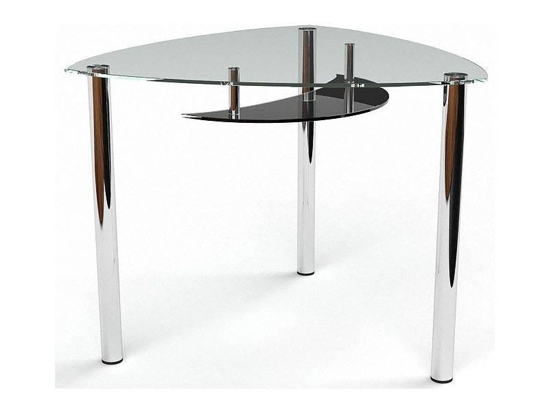 Стол БЦ Луна кухонный обеденный трехугольный стеклянный нераскладной