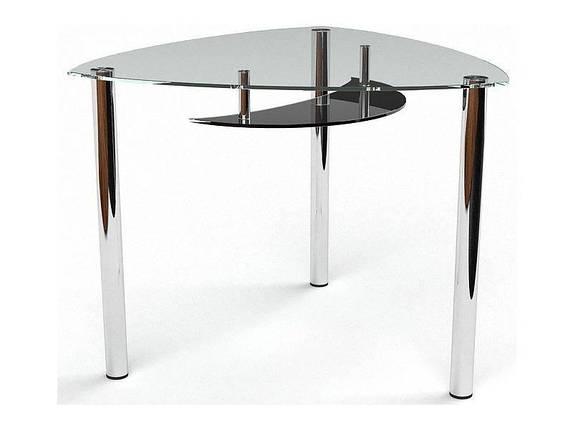 Стол БЦ Луна кухонный обеденный трехугольный стеклянный нераскладной, фото 2