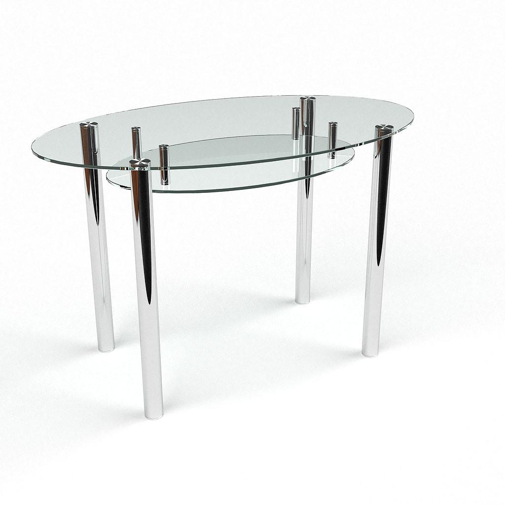 Стол БЦ Овальный прозрачный с полкой кухонный обеденный овальный стеклянный нераскладной