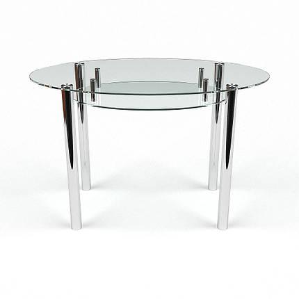Стол БЦ Овальный прозрачный с полкой кухонный обеденный овальный стеклянный нераскладной, фото 2