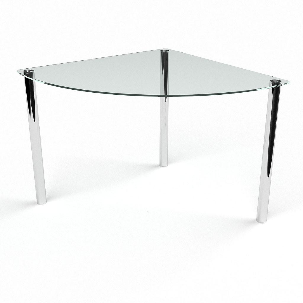 Стол БЦ Сектор прозрачный кухонный обеденный трехугольный стеклянный нераскладной